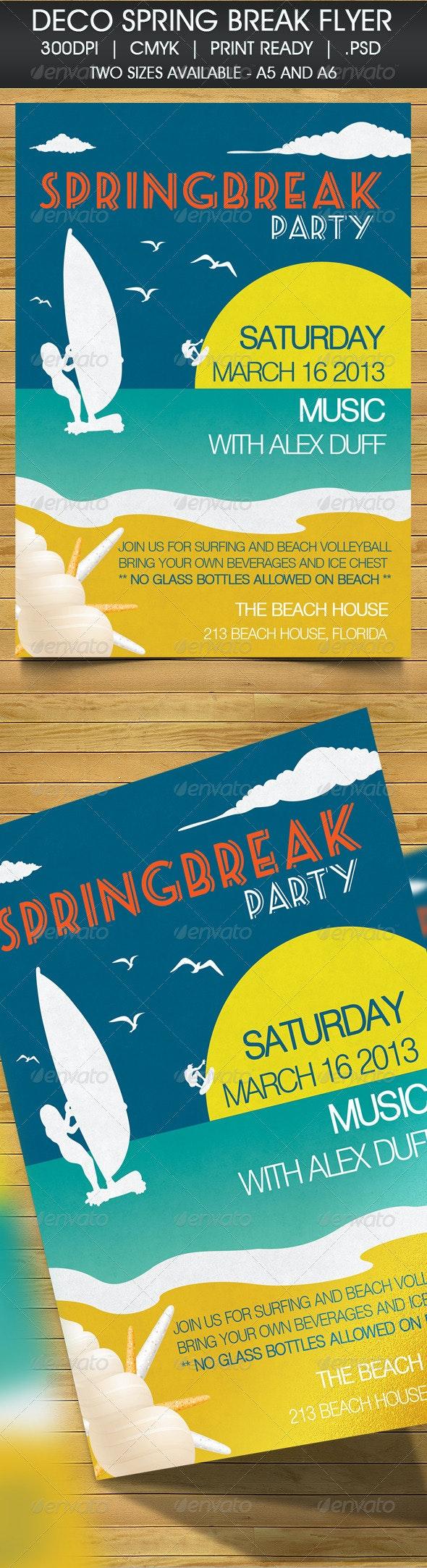 Deco Spring Break Beach Party Invitation - Cards & Invites Print Templates