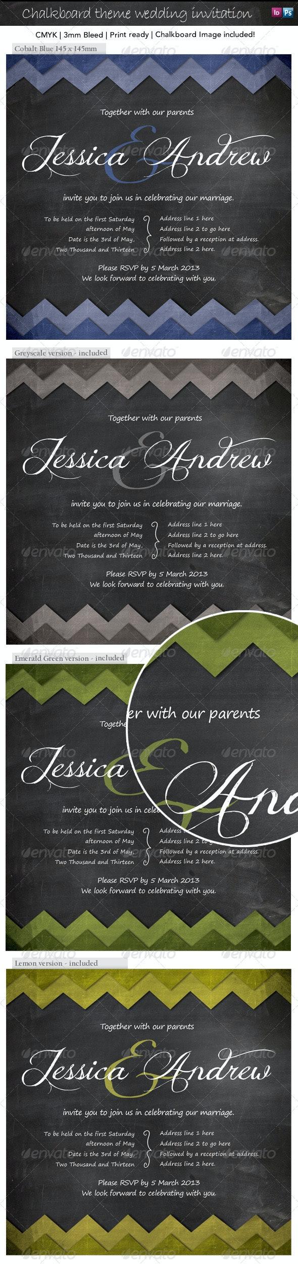 Blackboard invitation for wedding or special event - Invitations Cards & Invites