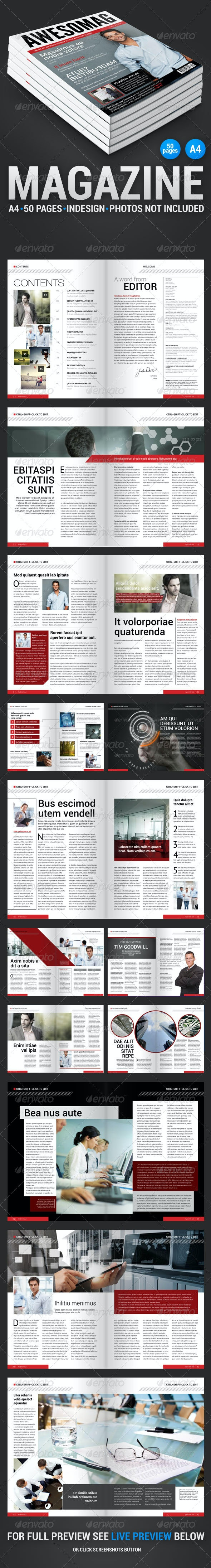 AwesoMag 50 pages magazine - Magazines Print Templates