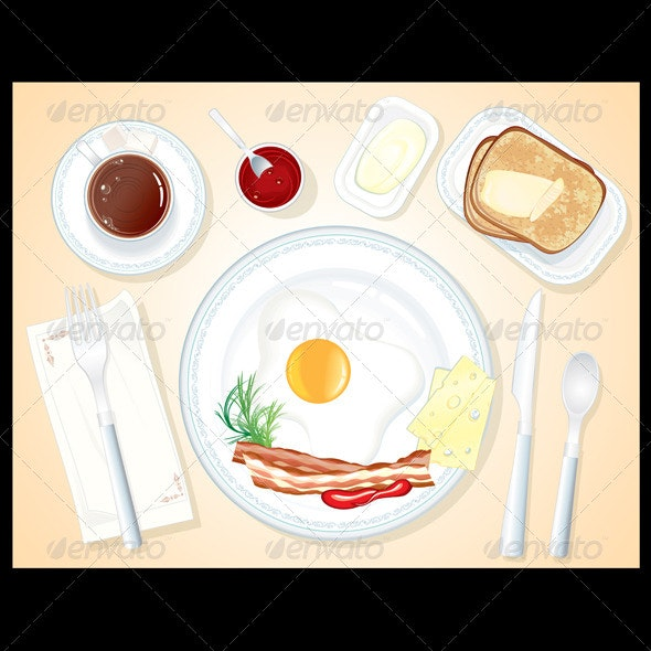 Classic Breakfast Illustration. Vector Image - Food Objects