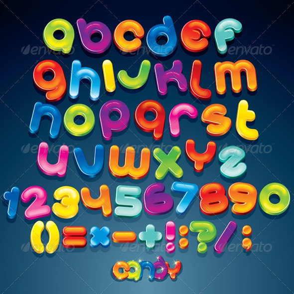 Cartoon Shiny Font. Multicolored Vector Alphabet - Decorative Symbols Decorative