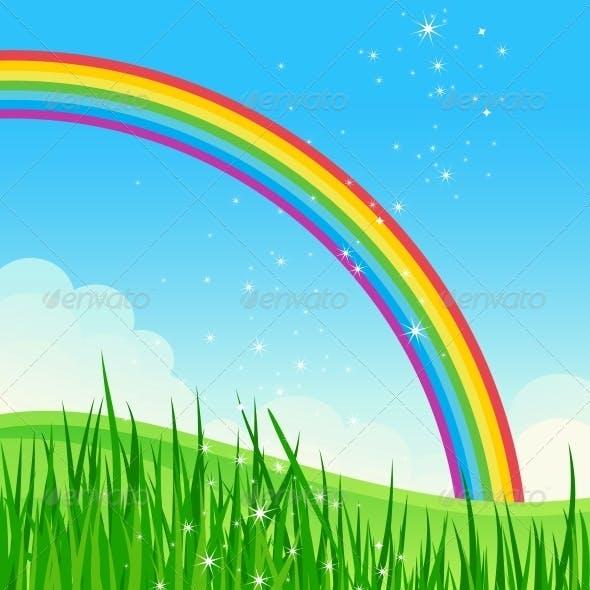 Shiny Rainbow Meadow Landscape