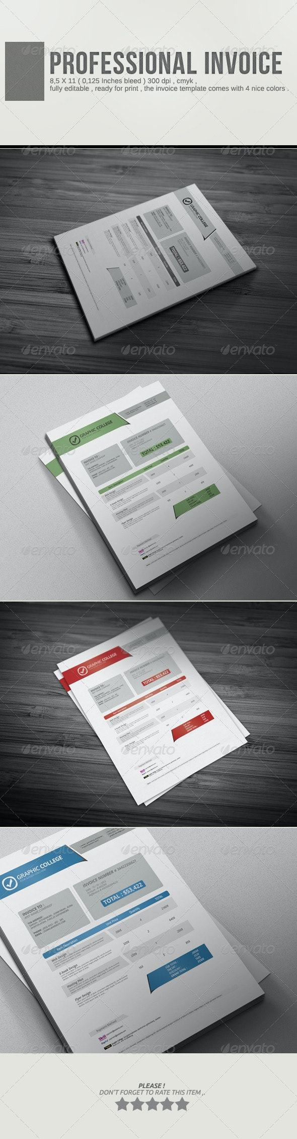 Professional Invoice Template Vol.2 - Proposals & Invoices Stationery