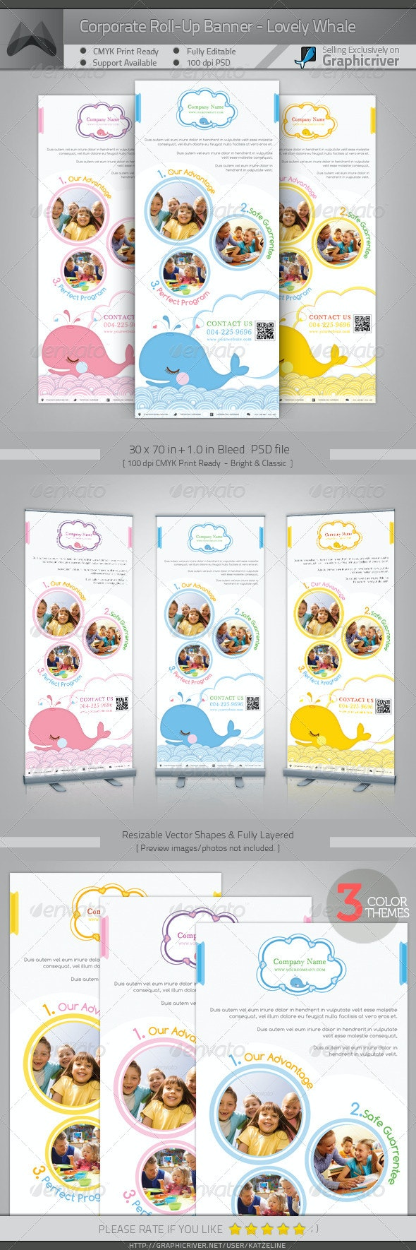 Corporate Roll-up Banner - Lovely Whale - Signage Print Templates
