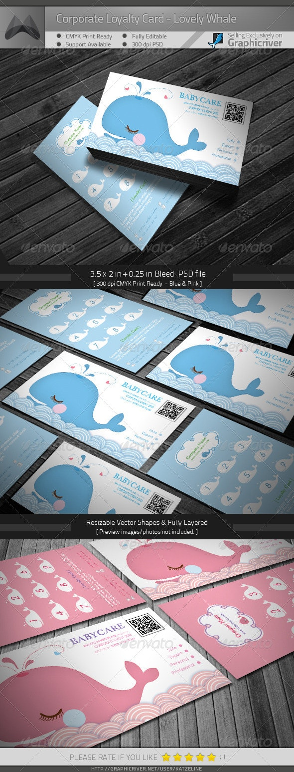 Corporate Loyalty Card - Lovely Whale - Loyalty Cards Cards & Invites
