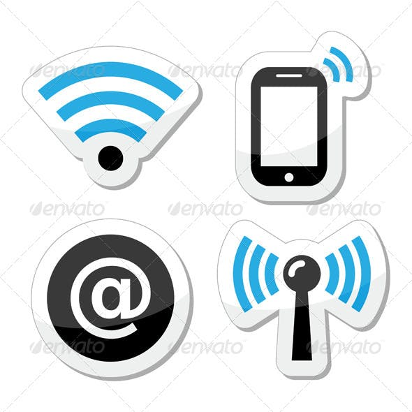 Wifi Network, Internet Zone Icons Set
