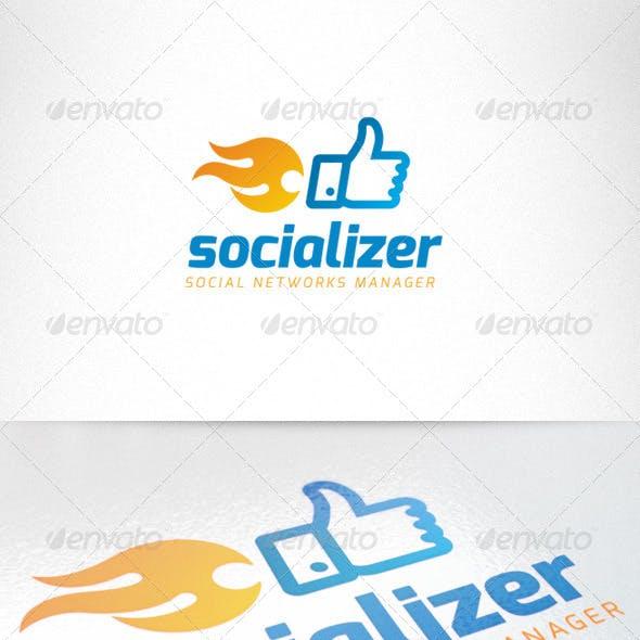 Social Media Thumb Up Fire Creative Logo