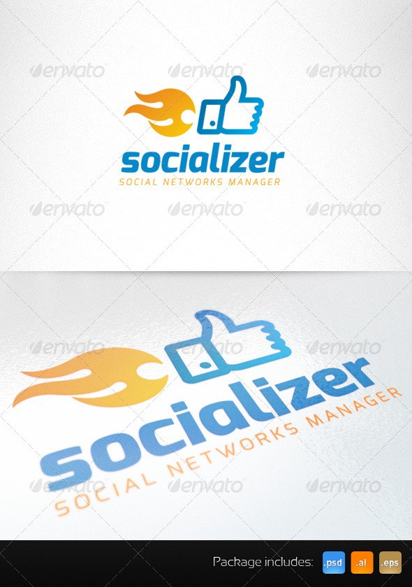 Social Media Thumb Up Fire Creative Logo - Symbols Logo Templates