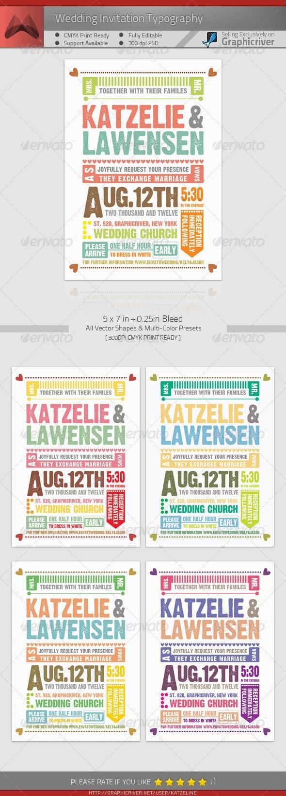 Wedding Invitation Typography - Weddings Cards & Invites