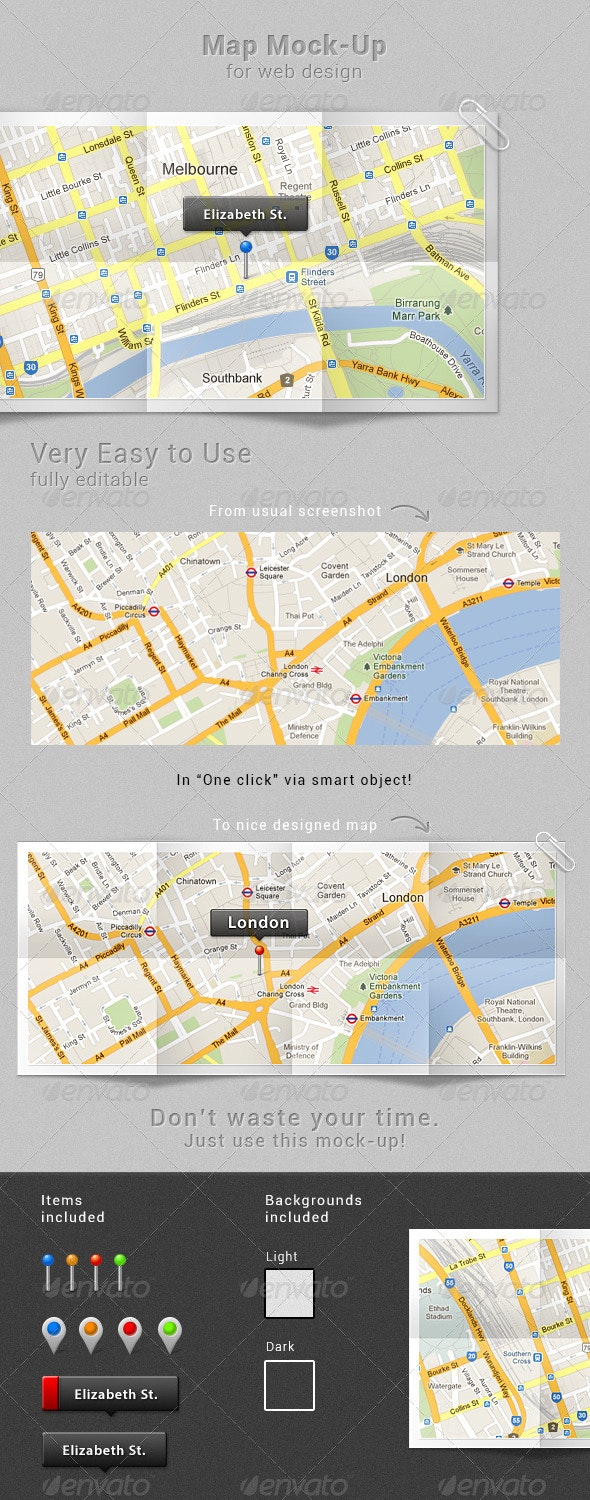 Map Mock-up - Miscellaneous Photo Templates