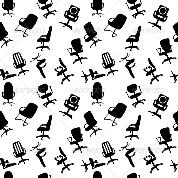 Seamless Pattern of Office Chairs Silhouettes