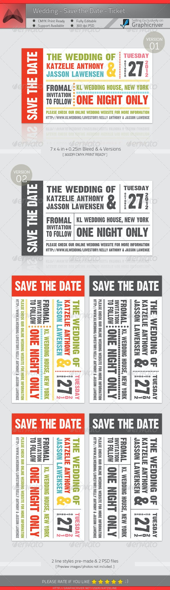 Wedding - Save The Date - Ticket - Weddings Cards & Invites