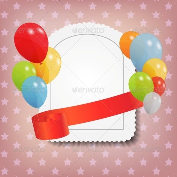 Birthday Card with Colored Balloons