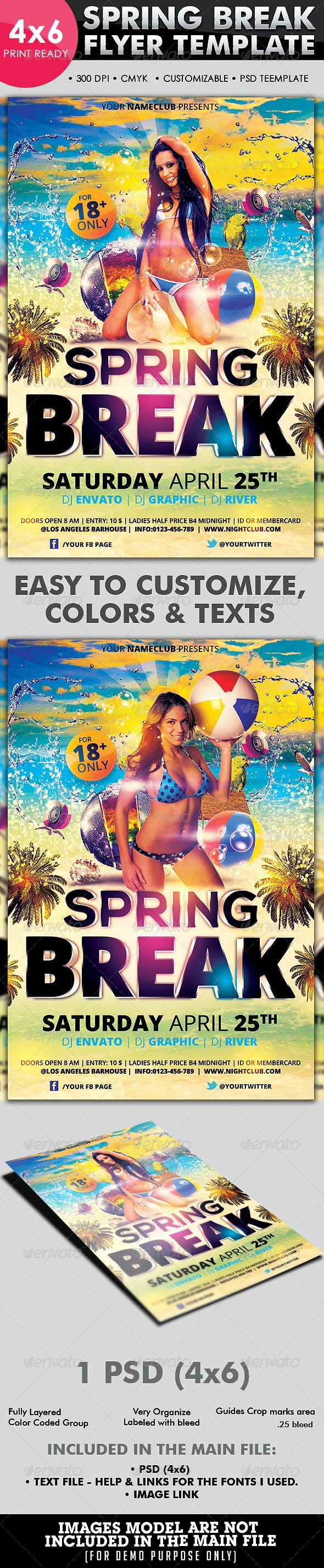 Spring Break Flyer Template - Flyers Print Templates