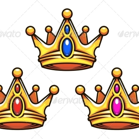 Golden Royal Crowns with Jewelry Elements