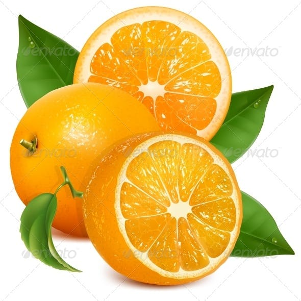 Fresh Ripe Oranges with Leaves