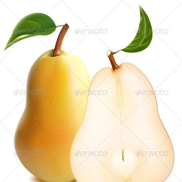 Ripe Pears with Green Leaves