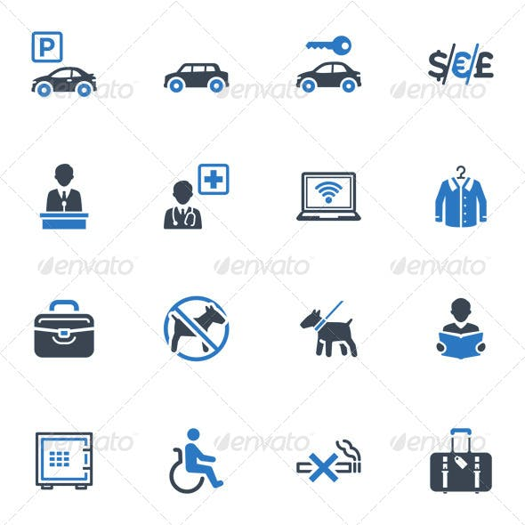 Hotel Services and Facilities Icons, Set 1 - Blue