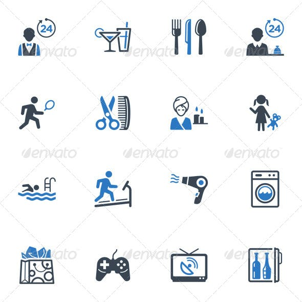 Hotel Services and Facilities Icons, Set 2 - Blue