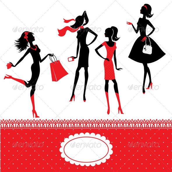 Set of Silhouettes of Fashionable Girls on a White