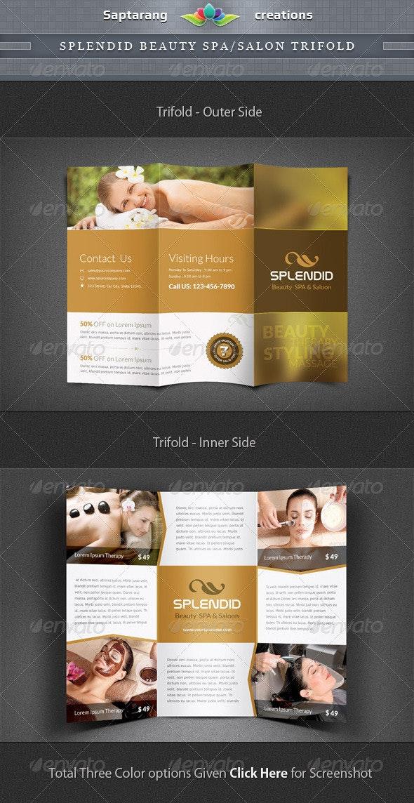 Splendid Beauty Spa / Salon Trifold Brochure - Informational Brochures