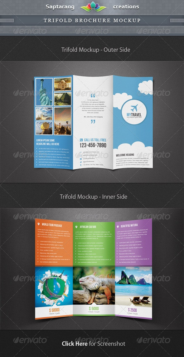 Trifold Brochure Mockup Template - Print Product Mock-Ups