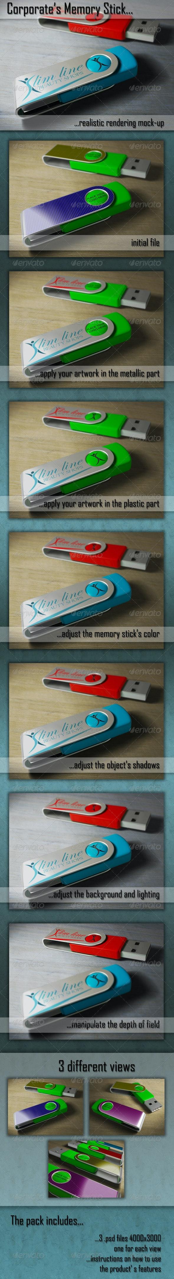 Memory Stick Mockup - Miscellaneous Product Mock-Ups