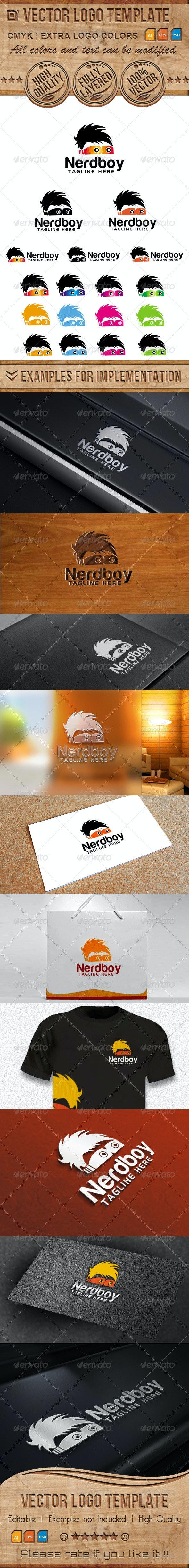 Nerd, Boy Vector Logo Template - Humans Logo Templates