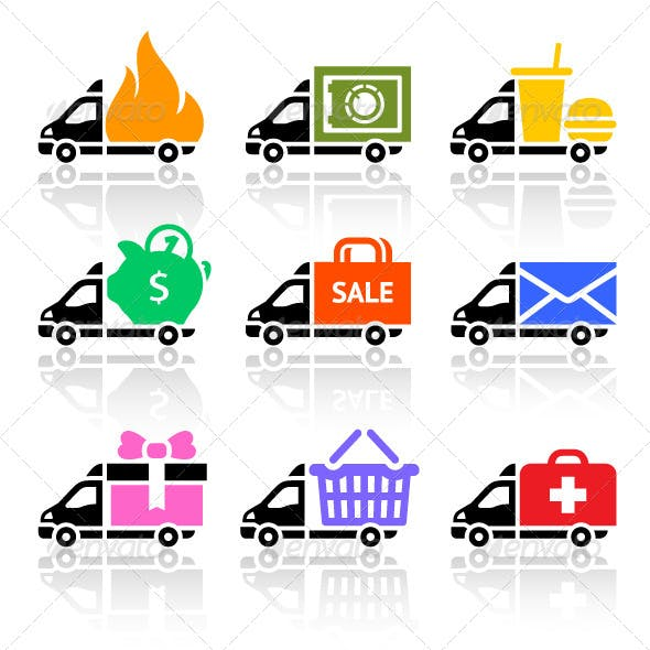 Delivery Cargo Trucks, Colored Icons Set