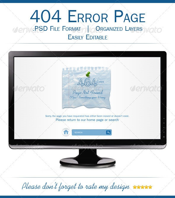 Multipurpose 404 Error Page Template - 404 Pages Web Elements