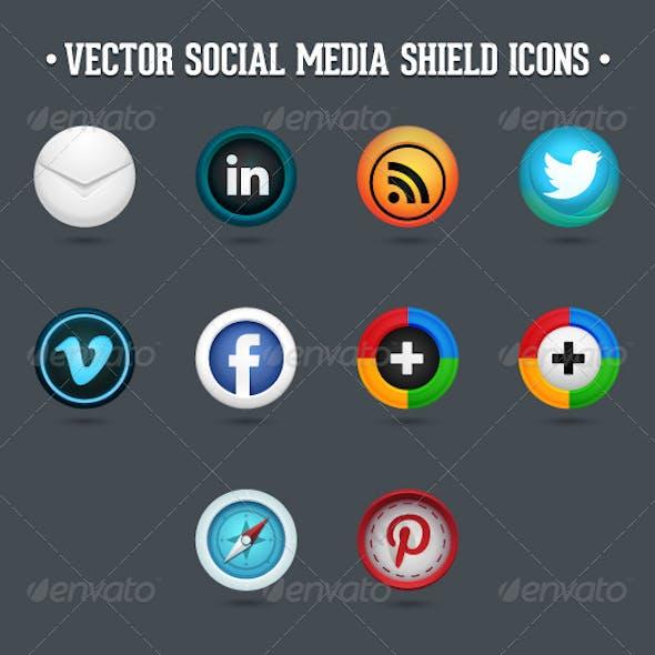 Social Media Vector Shield Icons