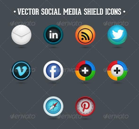 Social Media Vector Shield Icons - Web Icons