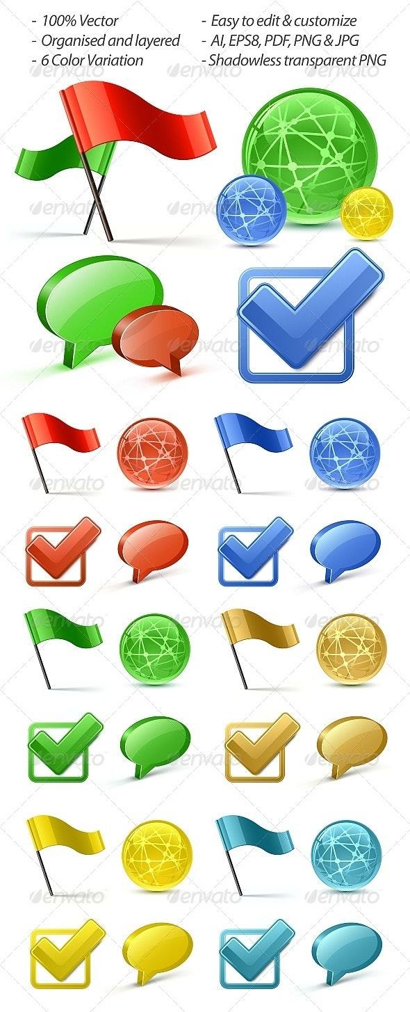 Vector Glossy Web Icons - Web Elements Vectors