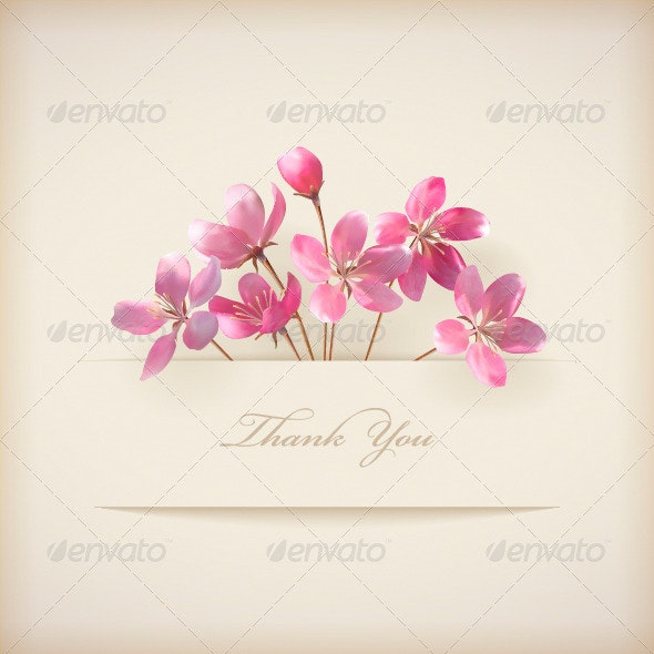 Thank You Card with Pink Flowers - Flowers & Plants Nature