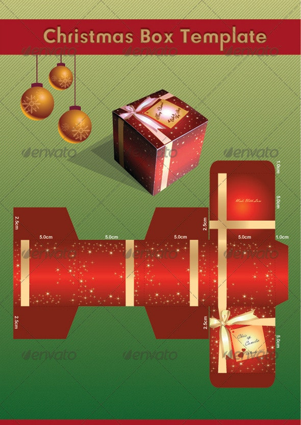 Christmas Gift Box Template - Stationery Print Templates