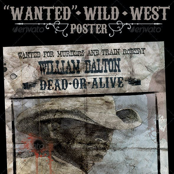 """""""Wanted"""" Poster - Wild West Style"""