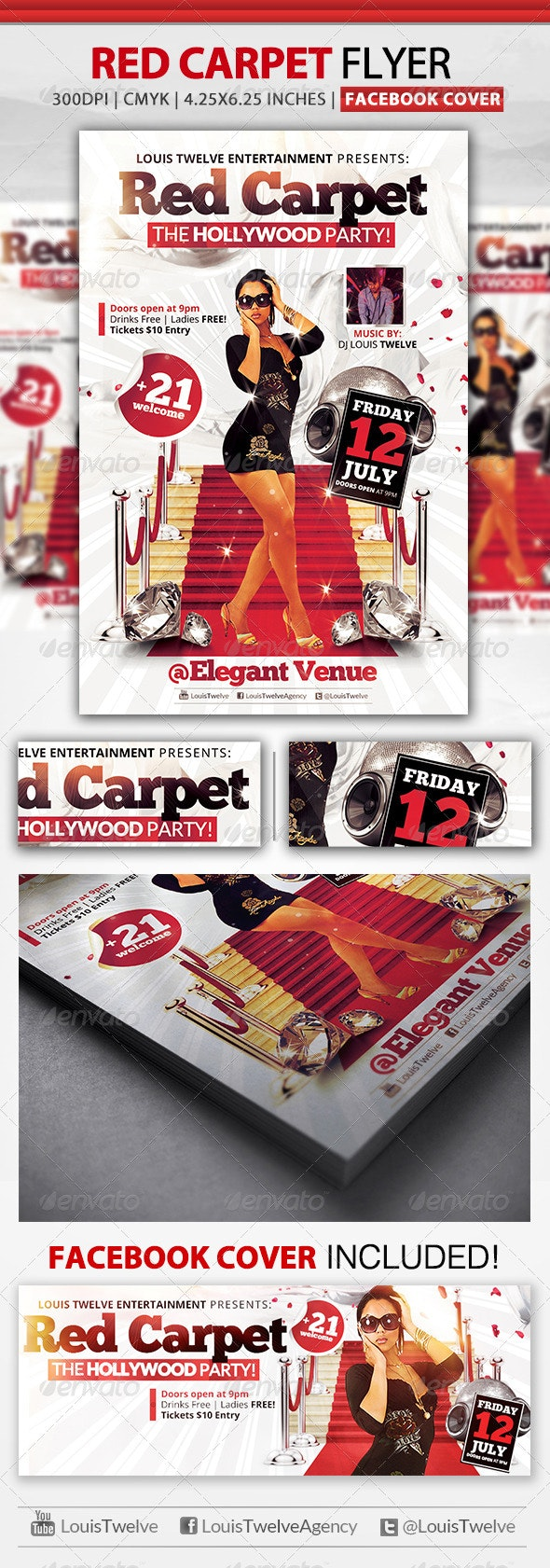 Red Carpet Party | Flyer + Facebook Cover - Clubs & Parties Events