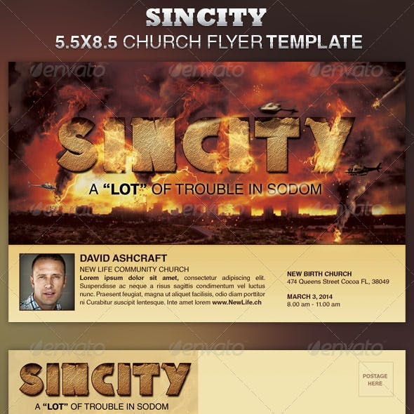 SinCity Church Flyer Template