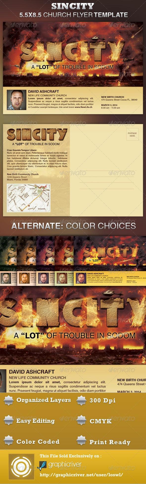 SinCity Church Flyer Template - Church Flyers