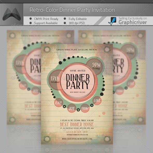 Retro-Color Dinner Party Invitation