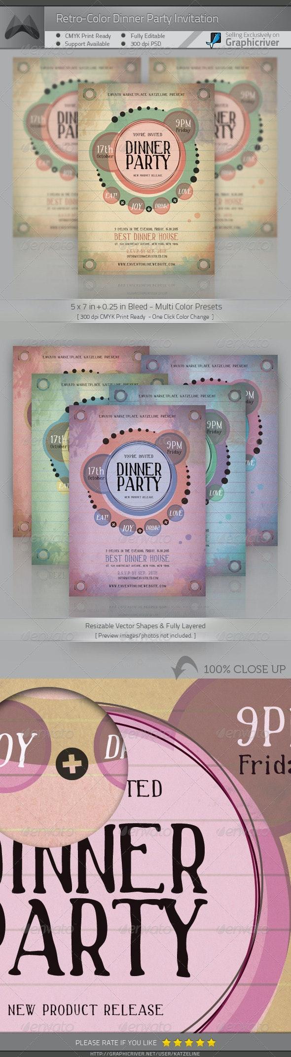 Retro-Color Dinner Party Invitation - Invitations Cards & Invites