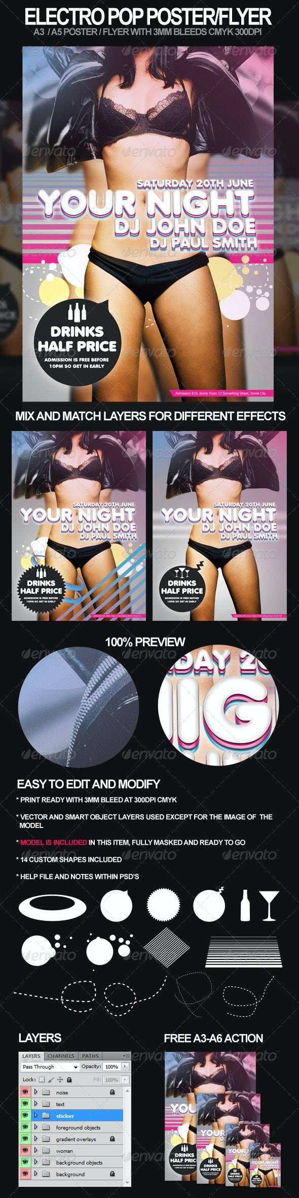 Electro Pop A3 Poster and A5 Flyer - Clubs & Parties Events