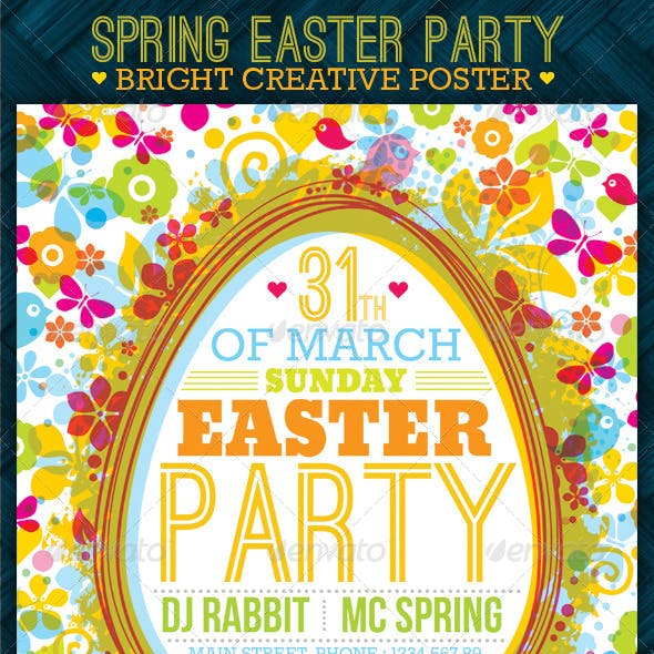 Fresh Spring Easter Party Creative Poster