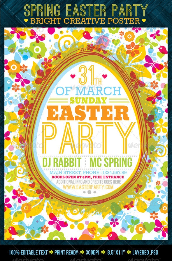 Fresh Spring Easter Party Creative Poster - Holidays Events