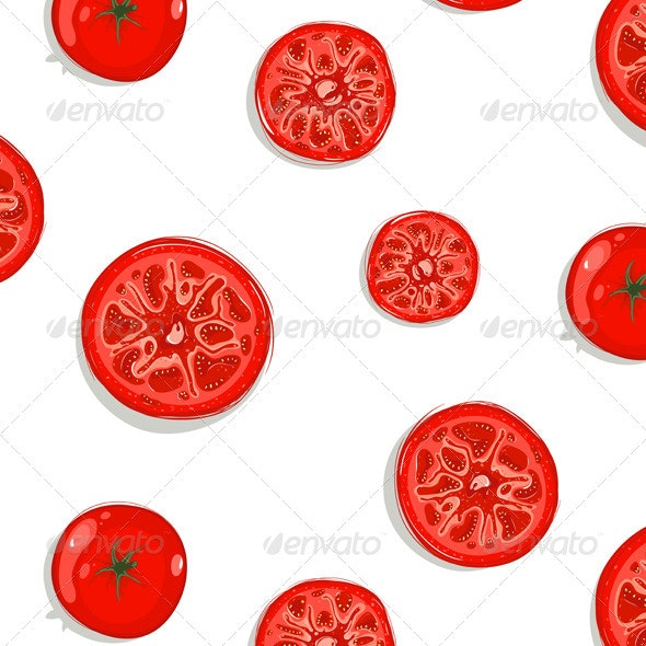 Tomato Slices Seamless Pattern Background - Patterns Decorative