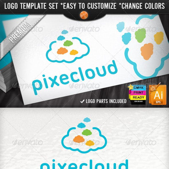 Creative Pixel Clouds Application Logo Template