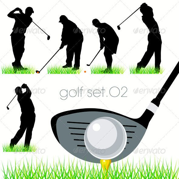 Golf Players Silhouettes Set