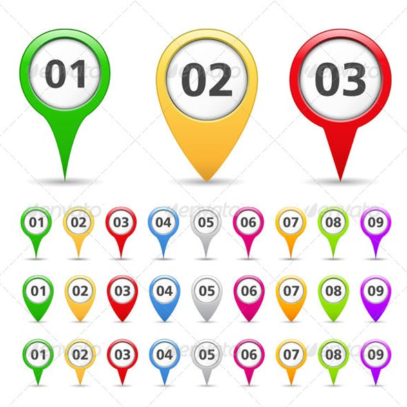 Map Markers with Numbers