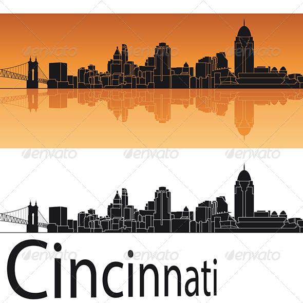 Cincinnati Skyline in Orange Background