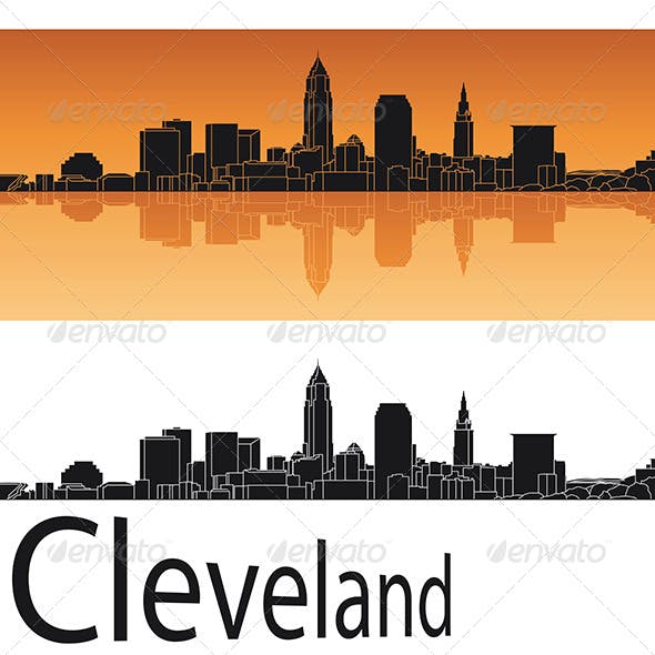 Cleveland Skyline in Orange Background